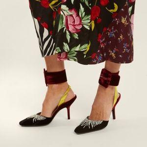 Attico Burgundy Oversized Velvet Ankle Strap